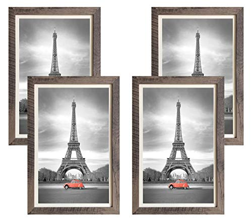 (Art Emotion Rustic Oak Style Picture Frame, 2MM Reinforced Glass, Dark Oak Finish 12x18 Frame for 11x17 Photo (12x18 Without MAT), Hangers Included for Horizontal or Vertical Hanging, Pack of 4)