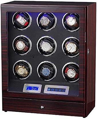 LEDライト木製クワッド自動時計ワインダー、5モードのLCDタッチディスプレイ付きの9つの時計のウォッチボックス、良い贈り物