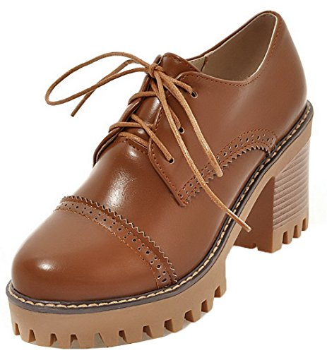 VogueZone009 Women's High-Heels Solid Lace-up PU Round Closed Toe Pumps-Shoes Brown