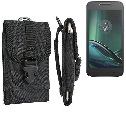 bolsa del cinturón / funda para Lenovo Moto G (4. Gen.) Play, negro | caja del teléfono cubierta protectora bolso - K-S-Trade (TM)