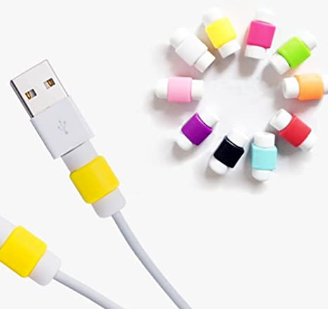 Lomire 10pcs Cubiertas Protectores de Cable Mini Funda de Líneas Cargador USB para Iphone Ipad Ordenador Movil, Colorido