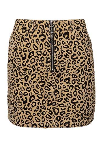 Womens Leopard Cheetah Animal Print Mini Skirt with Zipper Detailing – Size Large -