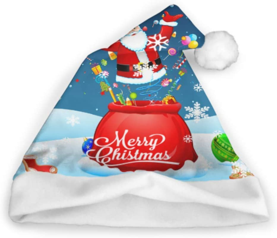 LONGYUU Santa Dando un Regalo Sombreros Locos de Navidad Niño pequeño Sombrero de Santa Fiesta de Adultos Año Nuevo Decoración del día de Navidad Sombrero de Santa Diversión Sombreros de Navidad