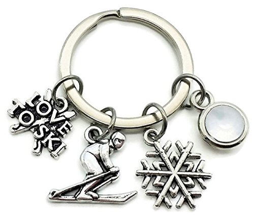 Snow Sports Charm Ski - Kit's Kiss Skiing keychain, Skier keychain, skiing charm keychain, Snowflake charm, ski charm, I love to ski keychain, Gift for skier, skiing key ring