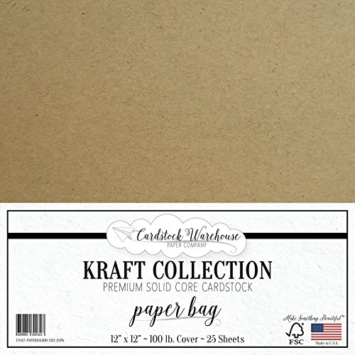 12x12 25 Sheets (PAPER BAG KRAFT Recycled Cardstock from Cardstock Warehouse - 12