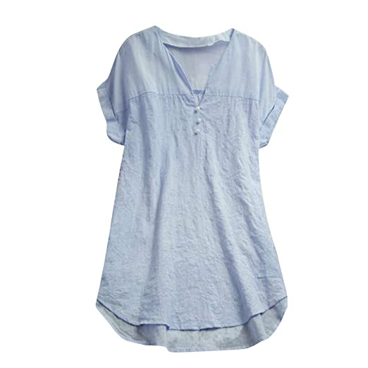 678ff4cc2202cd Casual Blouse for Women V Neck Short Sleeve Button Up Solid High Low Hem  Loose Summer