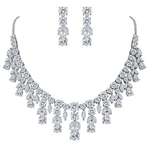 BriLove Women's Wedding Bridal Statement Necklace Dangle Earrings Jewelry Set with CZ Cluster Leaf Teardrop Clear Silver-Tone - Tennis Jewelry Set
