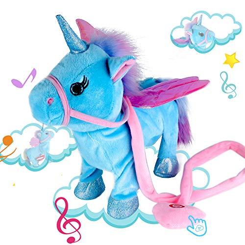 (Alpacasso Musical Unicorn Toys, Singing and Walking Pegasus Pony Electronic Toys. (Blue))