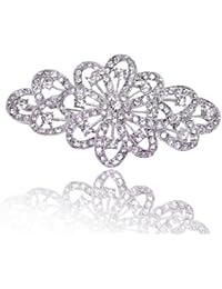 4 Inch Bridal Flower Ribbon Brooch Clear Austrian Crystal