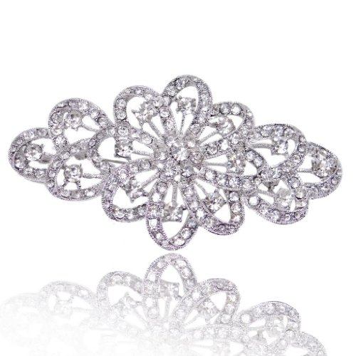 Silver Tone Brooch (EVER FAITH 4 Inch Bridal Silver-Tone Flower Ribbon Brooch Clear Austrian Crystal)