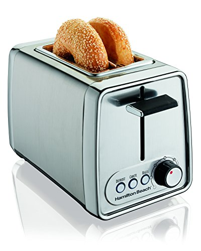 Hamilton Beach Modern Chrome 2 Slice Extra Wide Slot Toaster with Bagel and Defrost Settings, Shade Selector, Toast…