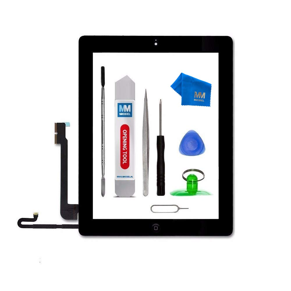 MMOBIEL Digitizer for IPAD 4 (Black) 9.7 Inch Touch Screen Front Display Assembly Incl Home Button Flex Camera Holder Pre Installed Adhesives and Professional Tool kit