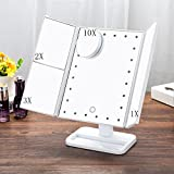 10x3x2x ONMIER Lighted Makeup Mirror Trifold 24 Led Lights with Touch Screen,10X3X2X1X Magnification and USB Charging or Battery powered,180°Adjustable Stand,Foldable Cosmetic Vanity Mirror (White)