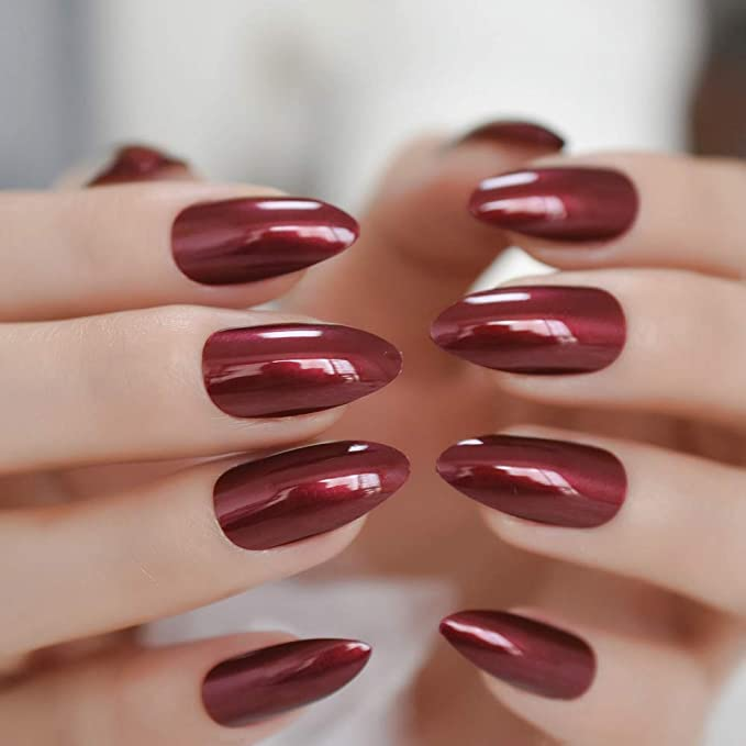 PLZJMM Uñas Postizas Stiletto Shiny Fake Nail Medium Dark Red ...