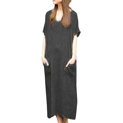 57c937a33c8 Women Dress Daoroka Bohemian Casual Loose Cotton Linen Dress Plus Size Maxi  Short Sleeve Kaftan Baggy Sundresses (5XL