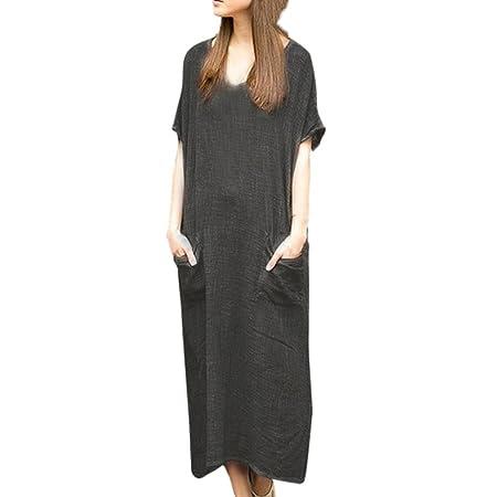 Women Dress Daoroka Bohemian Casual Loose Cotton Linen Dress Plus Size Maxi Short Sleeve Kaftan Baggy Sundresses (M, Orange): Beauty