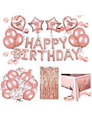 DUMAH Rose Gold Birthday party Decoration| Happy birthday banner, Foil Curtain, Air pump, Doted glue tape, Foil Table cloth and many more party decoration material