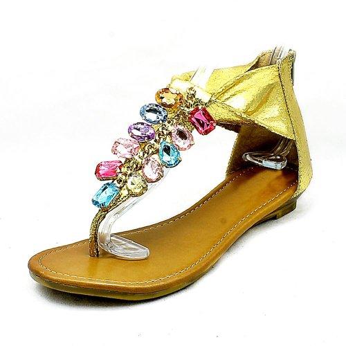 SendIt4Me Zapatos de Mujer Sandalias Planas con Cuentas Metálicas Gold
