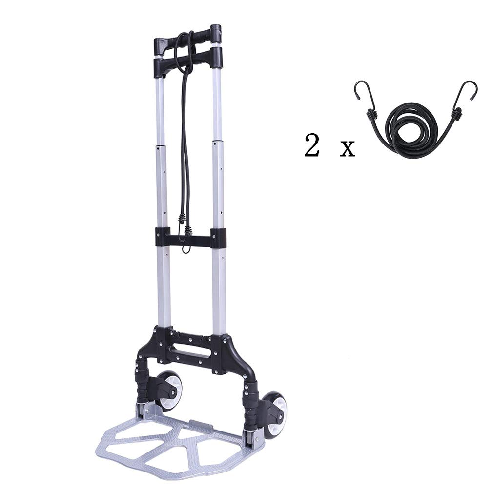Folding Hand Truck & Dolly Foldable Hand Cart Trolley with 2 Free Elastic Ropes 150 lb Capacity