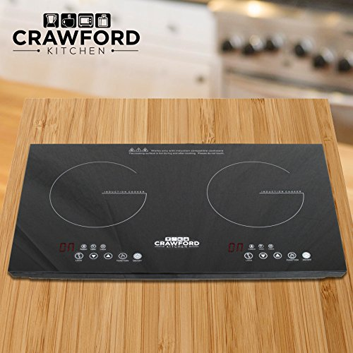Crawford Kitchen 1800W Double Digital Induction Cooktop | Portable Countertop Design & Easy To Clean | New Touch Panel Controls (Double)