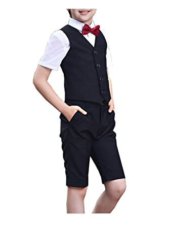 13f8a6391853 YUFAN Boys Summer Formal Suits Vest Shorts Shirt Bow Tie 4 Pieces Blue and  Black (