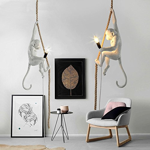 "Retro Monkey Chandelier Fashion Hemp Artificial Acrylic Pendant Light E14 Study Ceiling Light (13.8""x11.8""x27.6"",Bulb Not Included)"