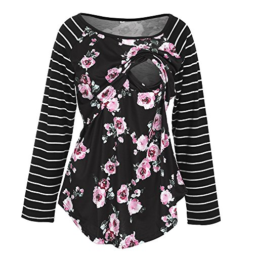 BEAdressy Women Double Layer Striped Print Long Sleeve Maternity Breastfeeding and Nursing Tops (S, Floral-Black)