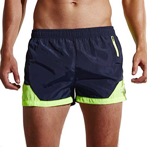 Funycell Men's Shorts Swim Trunks with Zipper Pockets Dark Blue US L