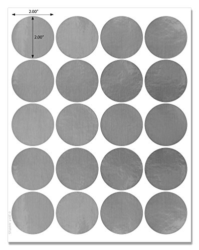 Waterproof Silver Foil 2 inch Diameter Circle Labels for Laser Printers with Downloadable Template and Printing Instructions, 5 Sheets, 100 Labels (JSF2)