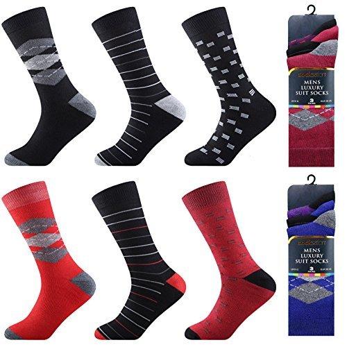 socksation Calcetines Hombre De Algodón 6 / Paquete De 12 Diseñadores estampado Cómodo transpirable Calcetines (