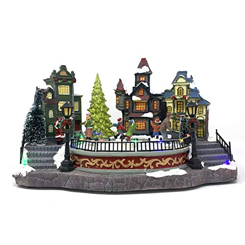 Allgala Crafted Polyresin Christmas House Collectable Décor Building House Figurine with USB and Battery Dual Power Source-Town Center with Rink-XH93413