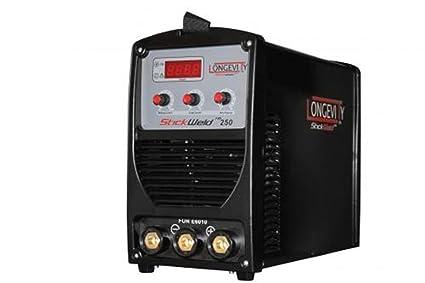 Longevidad stickweld 250 e6010 capaz 250 Amp DC Stick soldador Lift TIG listo para empezar con