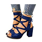 Women's Chunky Heels Sandal Summer Gladiator Open Toe Casual Four Adjustable Buckle Strap Shoes (Blue -6, US:8.5)