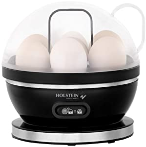 Holstein Housewares HH-09190001B 7-Egg Capacity Electric Egg Cooker, Black/Stainless Steel
