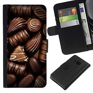 KLONGSHOP // Tirón de la caja Cartera de cuero con ranuras para tarjetas - Chocolate Box caramelo arte oscuro dulce - HTC One M7 //