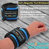 Kid size tool magnetic wristband with strong magnets. Great for childrens woodworking carpentry projects. (1)