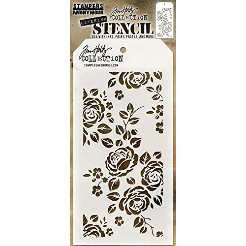 Tim Holtz Layered Stencil 4.125X8.5-Roses Stampers Anonymous AGTHS075