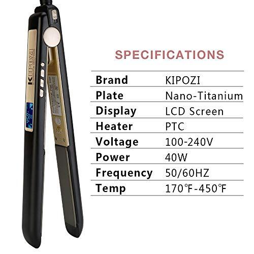 KIPOZI Flat Iron 1 Inch Titanium Hair Straightener with Adjustable Temperature High Heat 450 degrees Frizz Free Dual Voltage Heats Up Quickly Matte Black
