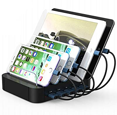 Kisreal USB Charging Station 5-Port Desktop Charging Stand Organizer for iPhone, iPad, Tablets and Other USB-Charged Devices