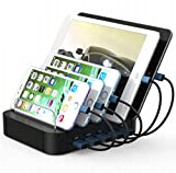 Image of Kisreal USB Charging Station 5-Port Desktop Charging Stand Organizer for iPhone, iPad, Tablets and Other USB-Charged Devices