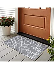 Sungea Modern Moroccan Trellis Area Rug, 2x3 ft, Grey and White Geometric Pattern Lattice Plaid Decorative Woven Outdoor Throw Rugs for Front Porch/Kitchen/Sink/Bathroom/Bedroom/Entry Way