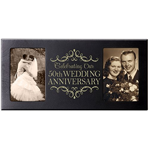 LifeSong Milestones 50th Anniversary Parent Wedding Gift 50th Wedding Anniversary for Couple Picture Frame Size 16 Inches Wide X 8 Inches High Holds 2-4x6 Photos (Black)