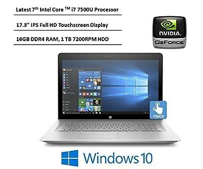 HP Envy 17.3-Inch Full HD IPS Laptop, 7th Intel Core i7-7500U, 16GB DDR4 RAM, 1TB 7200RPM HDD, NVIDIA GeForce 940MX, DVD, HDMI, Bluetooth, Backlit Keyboard, Windows 10-Silver