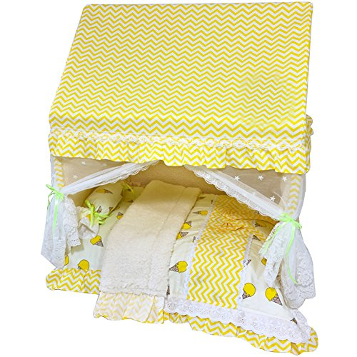 (Creation Core Romantic Pet Puppy Cat Bed House with Canopy Mosquito Net Pillow Quilt(Yellow,M))