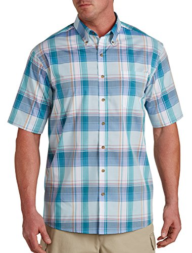 Harbor Bay by DXL Big and Tall Easy-Care Large Plaid Sport Green (Bay Plaid Shirt)