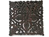 Square Floral & Heart Handmade Thai Teak Wood Carving Wall Art Decor Hanging