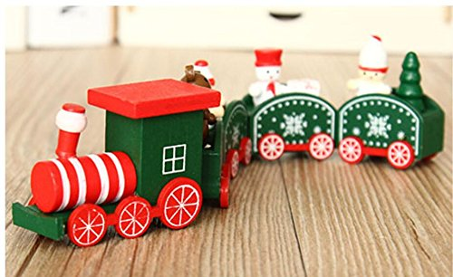 24cm wooden snowman train window dressing arrangement dress up gift TA11219 ( Color : White )