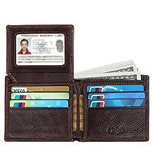 Crius RFID Blocking Retro Genuine leather Wallet for Men brown,Credit Card Protector