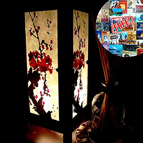 Red Cherry Blossom Lamp Shades Table Lamp Large Night Light Bulbs ...