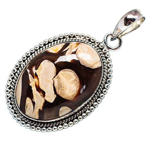 Handmade Sterling Pendant Cabochon Silver (Peanut Wood Jasper Pendant 1 3/4
